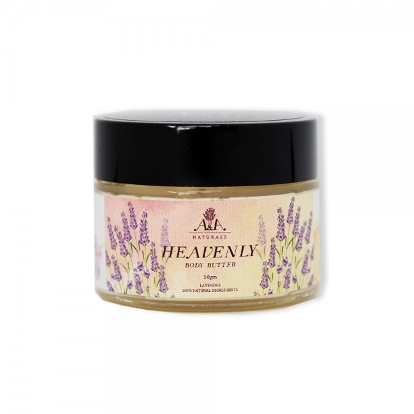 heavenly body butter lavender glass jar front view