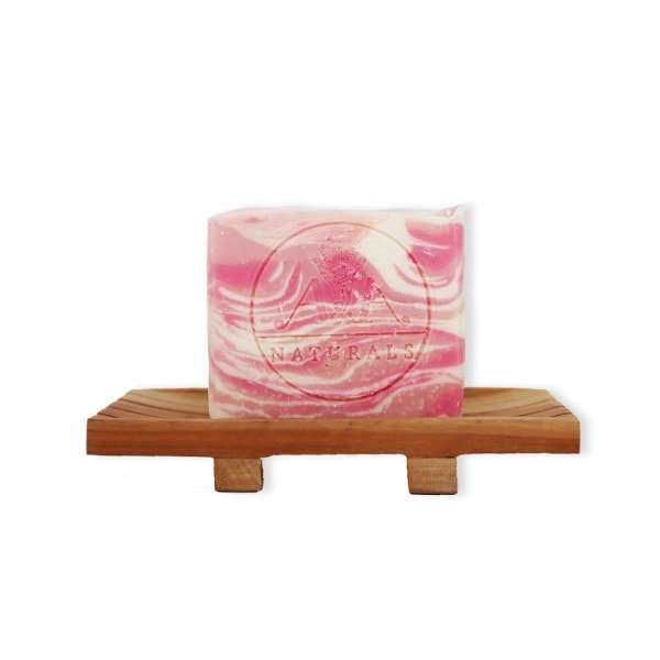 rose geranium soap bar on soap dish