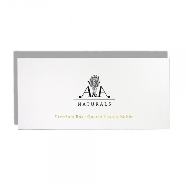 premium rose quartz beauty roller box front view