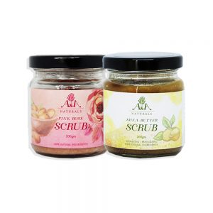scrub duo pink rose and shea butter scrub jar